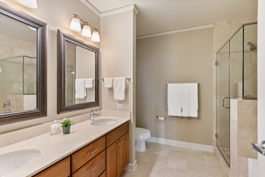 Real Estate Photography - 225 N Columbus Dr, Unit 6708, Chicago, IL, 60601 - Master Bathroom