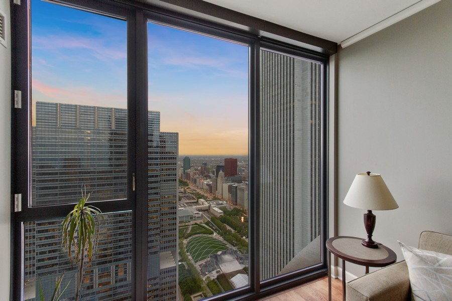 Real Estate Photography - 225 N Columbus Dr, Unit 6708, Chicago, IL, 60601 - Bedroom