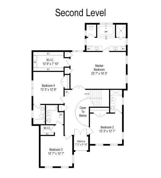 Real Estate Photography - 205 Laurel, Highland Park, IL, 60035 - Second Level Floor Plan