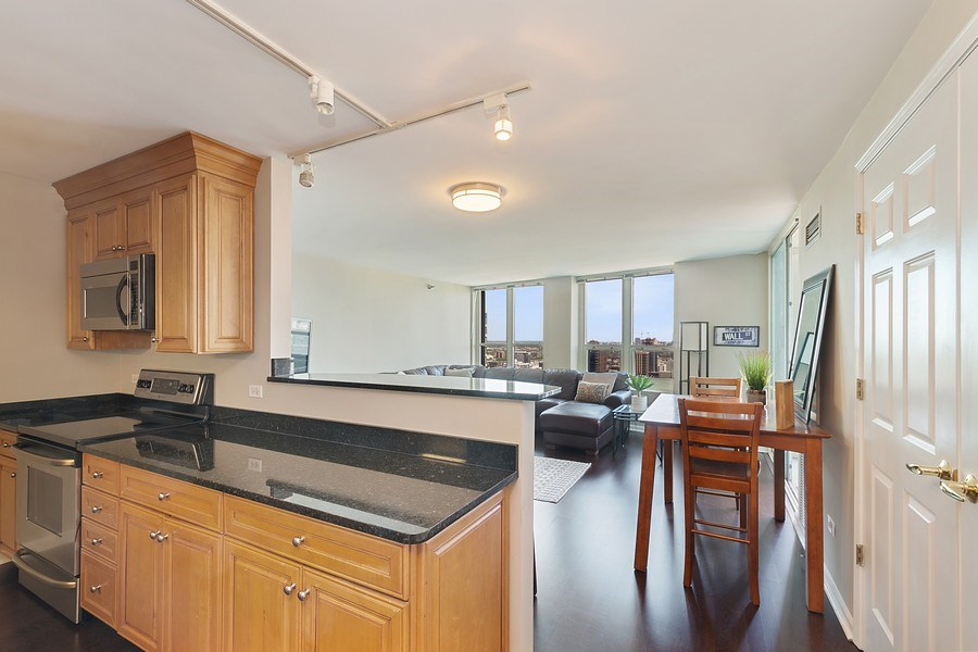 Real Estate Photography - 345 N LaSalle, unit 4602, Chicago, IL, 60654 - Kitchen / Living Room