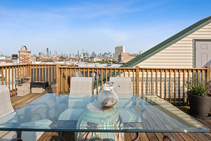 Real Estate Photography - 1406 N. Paulina St., Chicago, IL, 60622 - Roof Deck with City Views