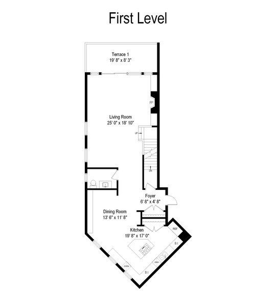 Real Estate Photography - 1406 N. Paulina St., Chicago, IL, 60622 - Floor Plan