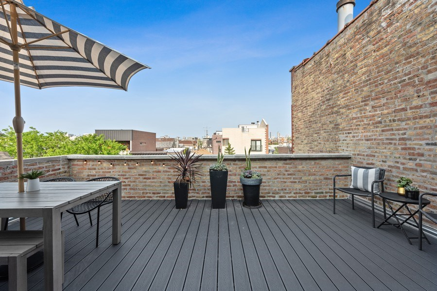 Real Estate Photography - 1406 N. Paulina St., Chicago, IL, 60622 - Terrace off of 2nd Level Family Room