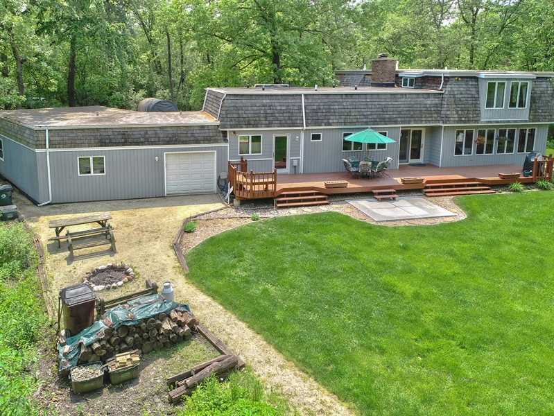 Real Estate Photography - 980 Oak Spring Ln, Libertyville, IL, 60048 - Rear of House with Pass Through Garage