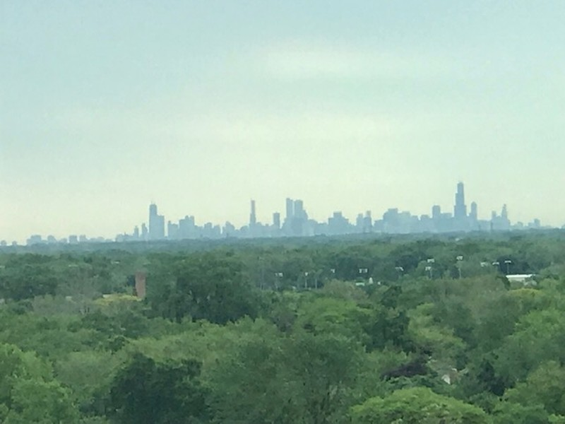 Real Estate Photography - 77 S Evergreen Ave, #1201, Arlington Heights, IL, 60005 - Chicago Skyline View