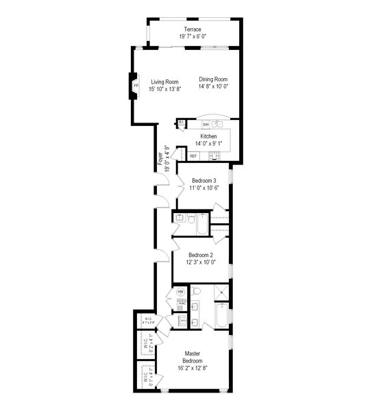 Real Estate Photography - 4721 N. Clark St, #2N, Chicago, IL, 60640 - Floor Plan