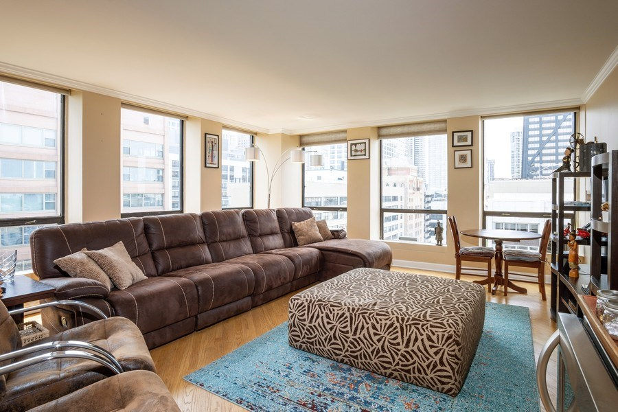 Real Estate Photography - 260 E Chestnut St, Unit 2401, Chicago, IL, 60611 - Living Room