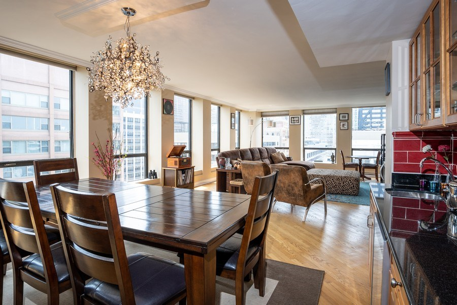 Real Estate Photography - 260 E Chestnut St, Unit 2401, Chicago, IL, 60611 - Living Room/Dining Room