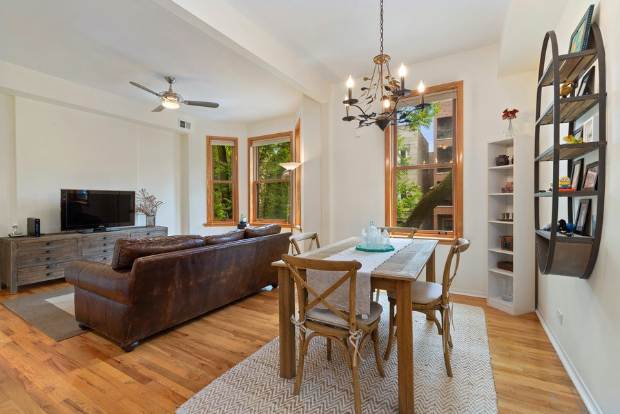 Real Estate Photography - 728 W Aldine Ave, Unit 2E, Chicago, IL, 60657 - Living Room / Dining Room
