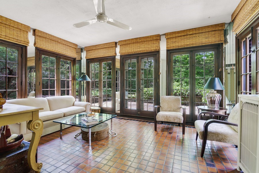 Real Estate Photography - 840 Sheridan Road, Glencoe, IL, 60015 - FRENCH DOORS IN BEAUTIFUL SUNROOM