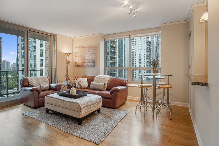 Real Estate Photography - 420 E. Waterside Dr, 1603, Chicago, IL, 60601 - Living Room