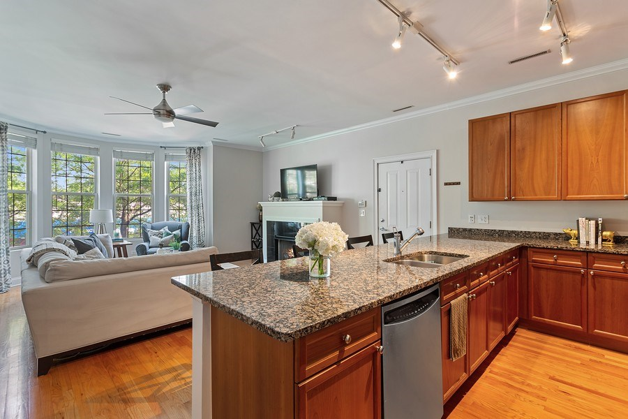 Real Estate Photography - 1801 W. Addison St., 2W, Chicago, IL, 60613 - Kitchen / Living Room