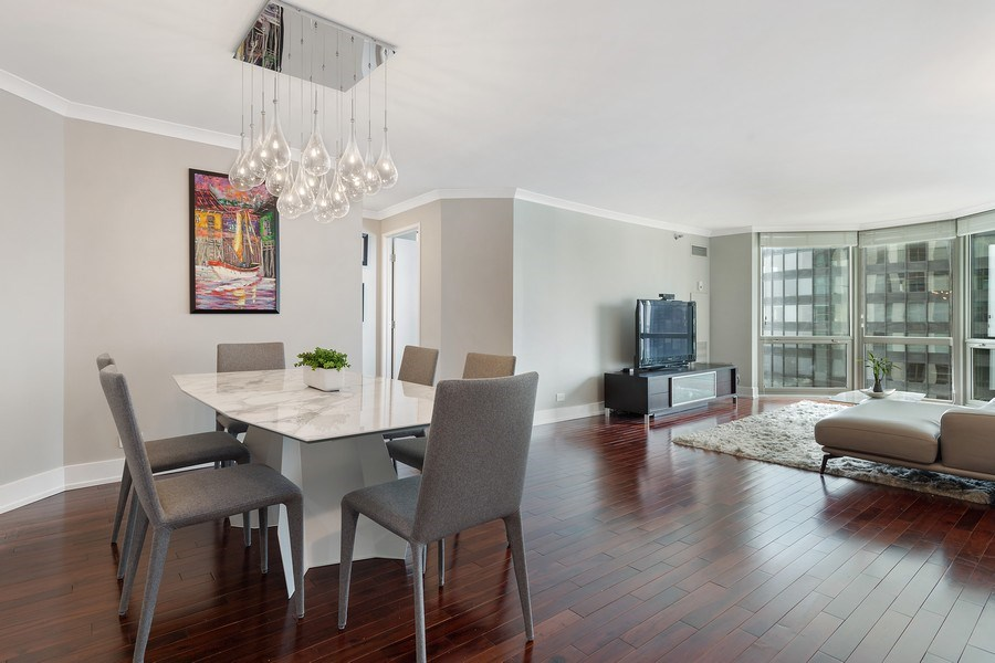 Real Estate Photography - 195 Harbor Dr #2405, Chicago, IL, 60601 - Living Room / Dining Room