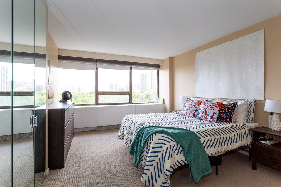 Real Estate Photography - 2800 Lake Shore Drive #706, Chicago, IL, 60657 - Bedroom