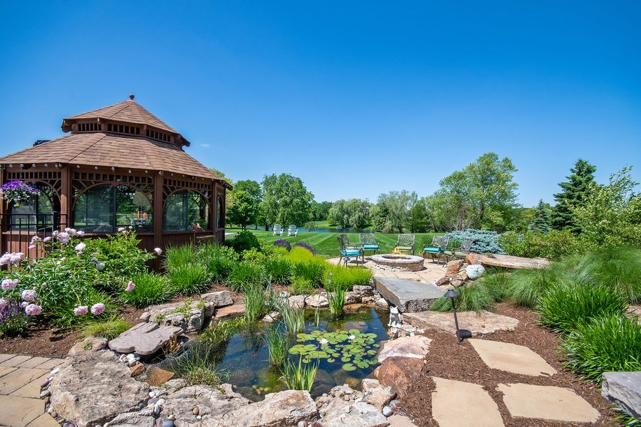 Real Estate Photography - 36W746 Whispering Trail, St. Charles, IL, 60175 - Backyard pond/gazebo