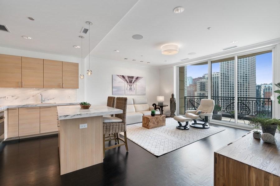 Real Estate Photography - 10 E Deleware Pl, 15A, Chicago, IL, 60611 - Kitchen / Living Room