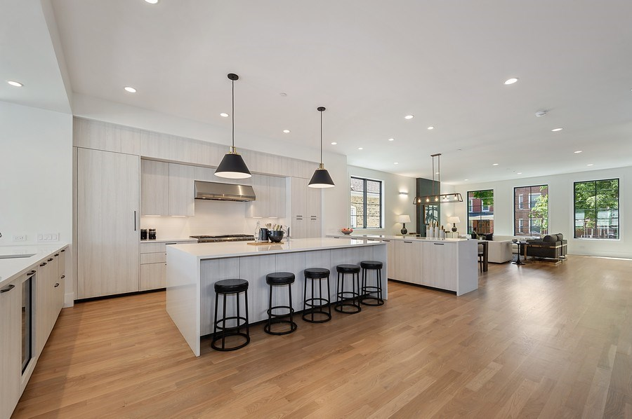 Real Estate Photography - 3647 Leavitt, Chicago, IL, 60618 - Kitchen / Living Room