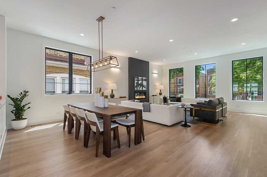 Real Estate Photography - 3647 Leavitt, Chicago, IL, 60618 - Dining / Living