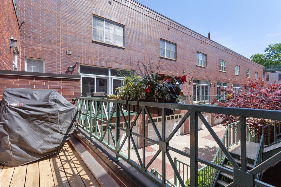 Real Estate Photography - 2515 N Seminary, A, Chicago, IL, 60614 - Balcony Off Kitchen (Courtyard View)