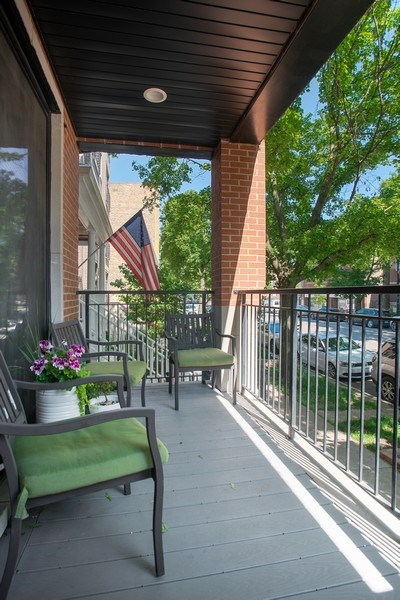 Real Estate Photography - 2250 W Roscoe, 1, Chicago, IL, 60618 - Private Front Porch