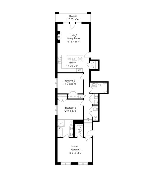 Real Estate Photography - 3816 N Ashland Ave, Unit 2N, Chicago, IL, 60613 - Floor Plan
