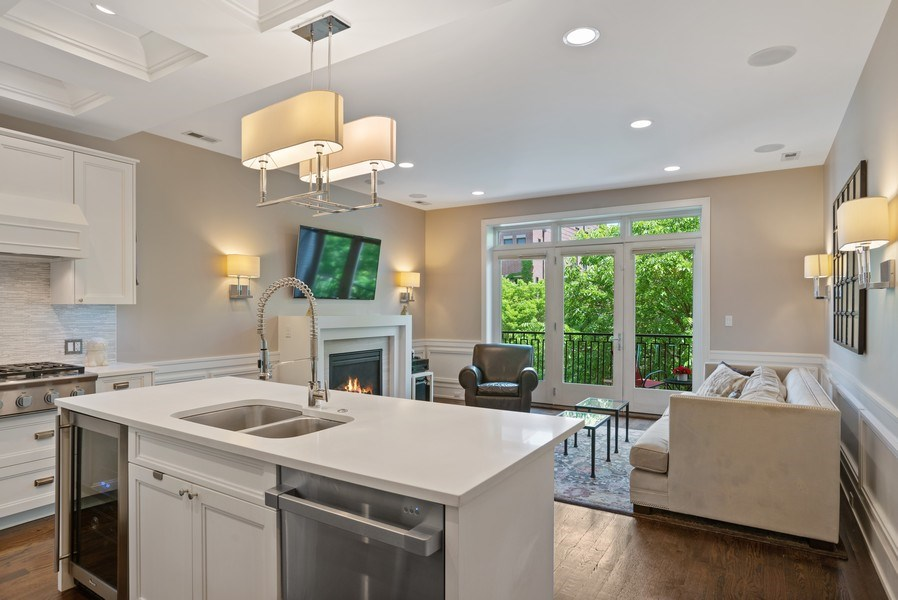 Real Estate Photography - 3816 N Ashland Ave, Unit 2N, Chicago, IL, 60613 - Kitchen/Living