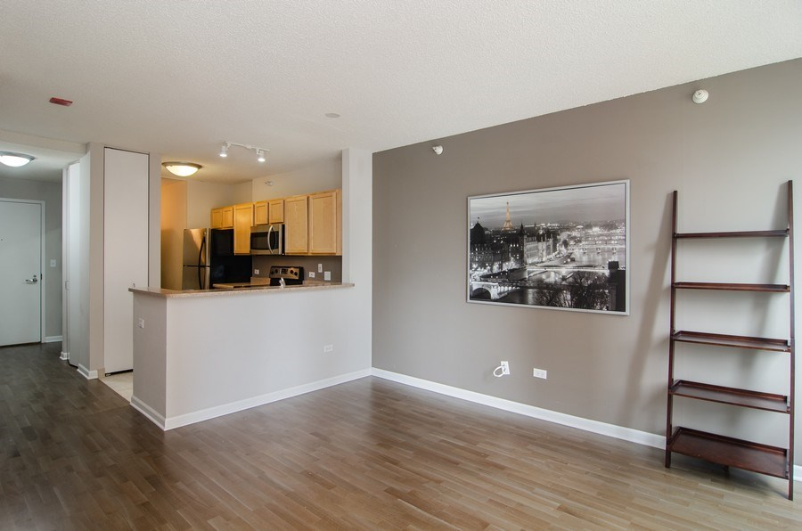 Real Estate Photography - 222 Columbus, Unit 1605, Chicago, IL, 60601 - Kitchen / Living Room