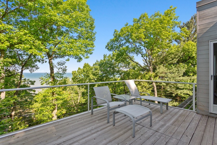 Real Estate Photography - 9475 Lakeview Dr, Bridgman, MI, 49106 - Rooftop deck with outdoor shower