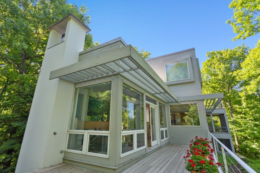 Real Estate Photography - 9475 Lakeview Dr, Bridgman, MI, 49106 - Entertaining deck with full lake views