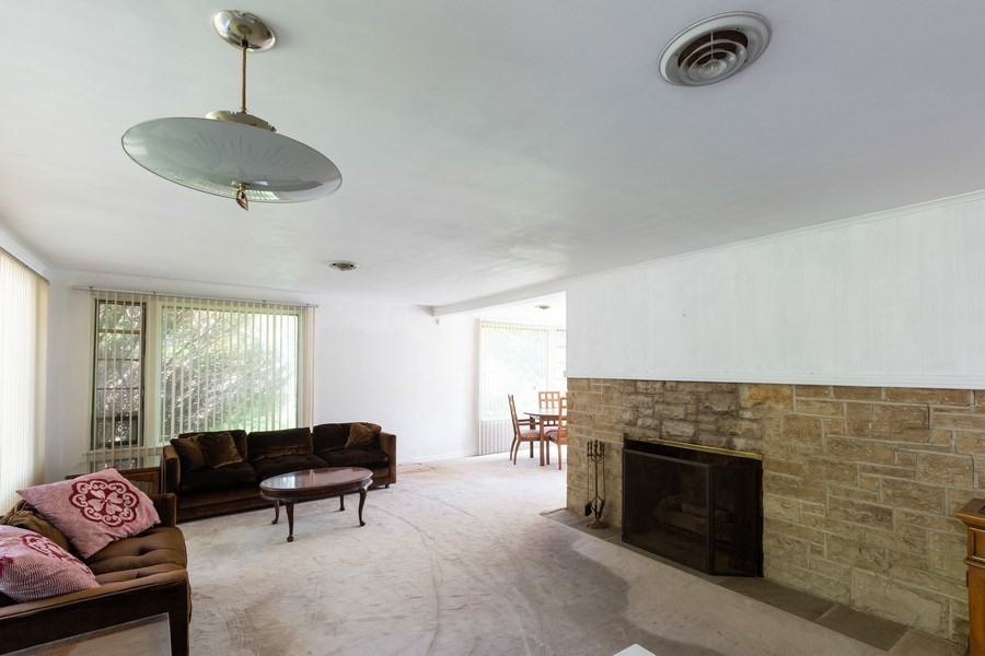 Real Estate Photography - 745 Indian Rd, Glenview, IL, 60025 - Gas Fireplace in Living Room
