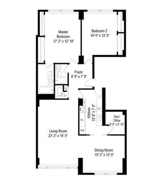 Real Estate Photography - 3180 N Lake Shore Dr, 5D, Chicago, IL, 60657 - D Tier Floorplan (Reversed)