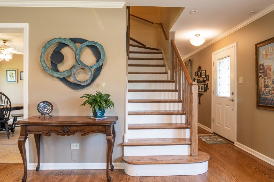 Real Estate Photography - 3314 Bellwood, Glenview, IL, 60026 - Foyer and Staircase