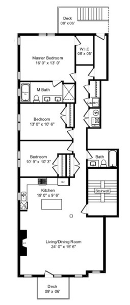 Real Estate Photography - 1368 N. Mohawk St., #3S, Chicago, IL, 60610 - Floor Plan