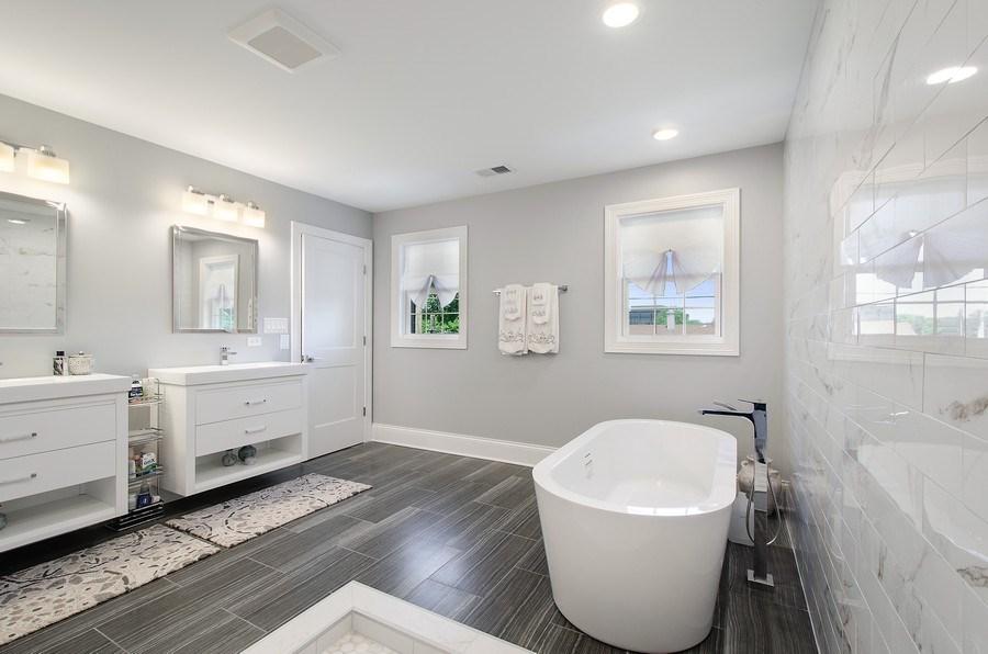 Real Estate Photography - 7052 Palma Ln, Morton Grove, IL, 60053 - Master Bathroom