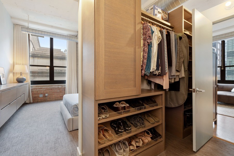 Real Estate Photography - 130 S Canal St, Unit 403, Chicago, IL, 60606 - Master Bedroom Closet