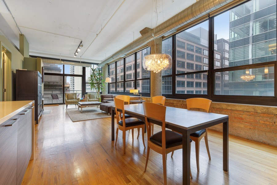 Real Estate Photography - 130 S Canal St, Unit 403, Chicago, IL, 60606 - Living Room / Dining Room