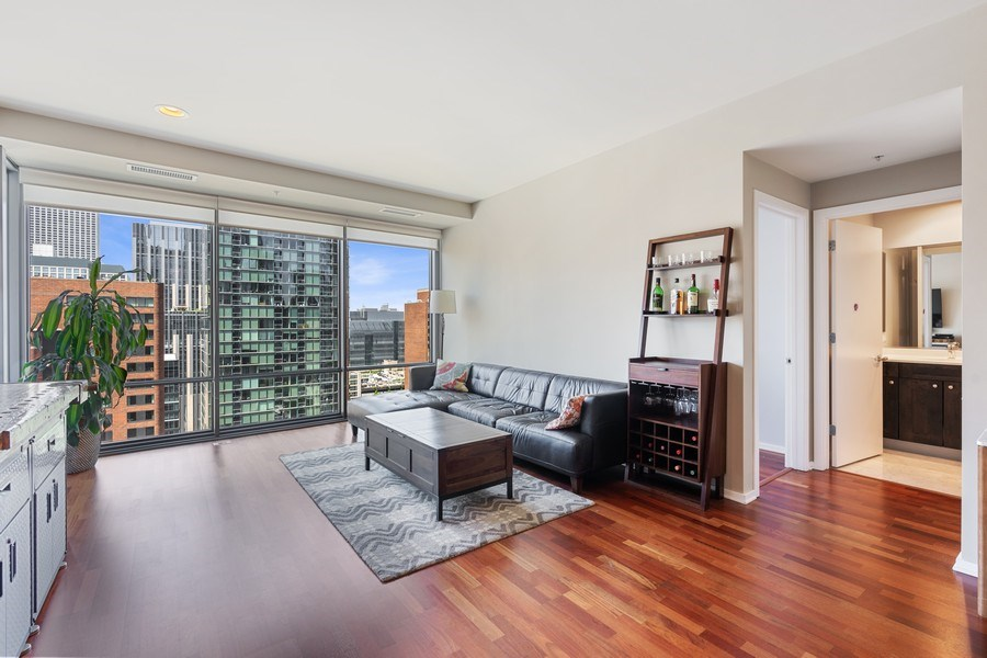 Real Estate Photography - 240 E Illinois, Unit 1804, Chicago, IL, 60611 - Living Room / Dining Room