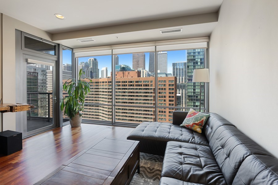 Real Estate Photography - 240 E Illinois, Unit 1804, Chicago, IL, 60611 - Living Room/Dining Room