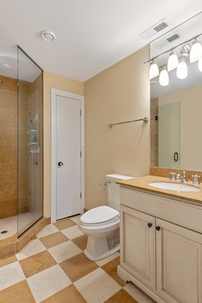Real Estate Photography - 3702 N Bell, Chicago, IL, 60618 - Lower Level Bathroom