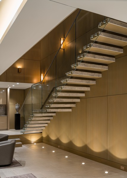 Real Estate Photography - 1140 N Wells, PH, Chicago, IL, 60610 - Glass Staircase