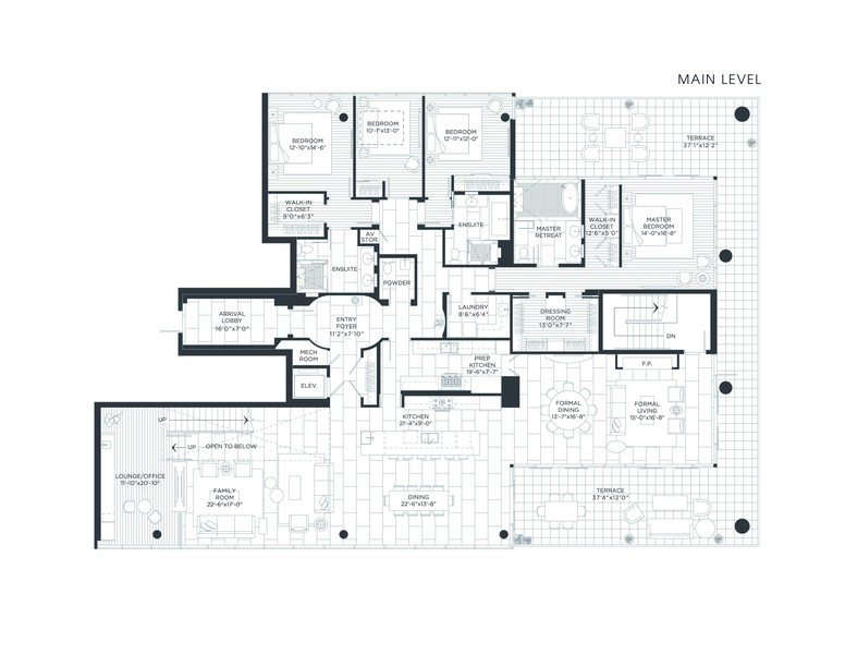Real Estate Photography - 1140 N Wells, PH, Chicago, IL, 60610 - Main Floor Floor Plan