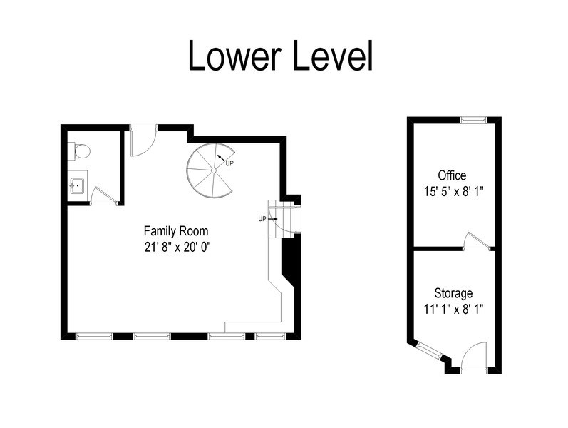 Real Estate Photography - 31 E Elm, 1B, Chicago, IL, 60611 - Lower level floor plan