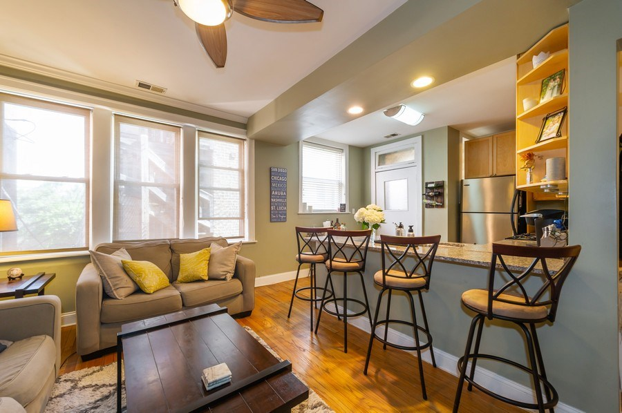 Real Estate Photography - 2238 W Roscoe Street, 2, Chicago, IL, 60618 - Kitchen / Living Room