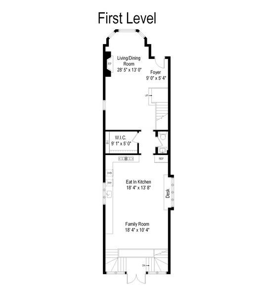 Real Estate Photography - 1412 W. Lexington, Chicago, IL, 60607 - Floor Plan