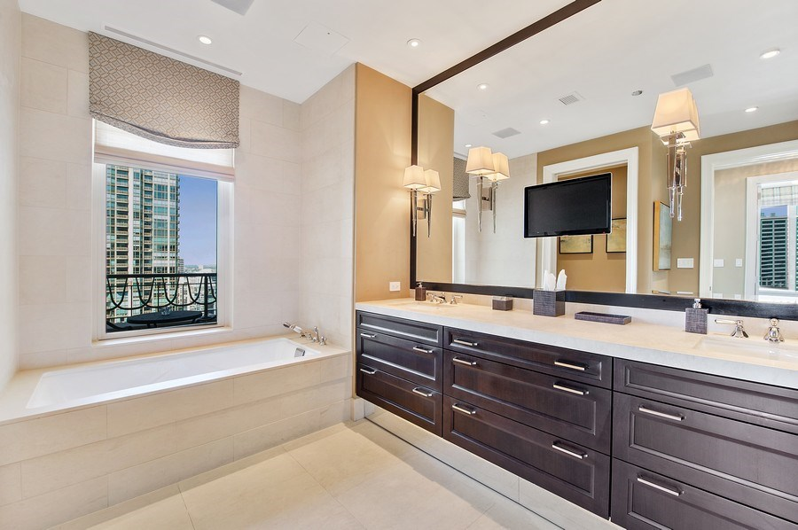 Real Estate Photography - 118 E. Erie #30G, Chicago, IL, 60611 - Master Bathroom