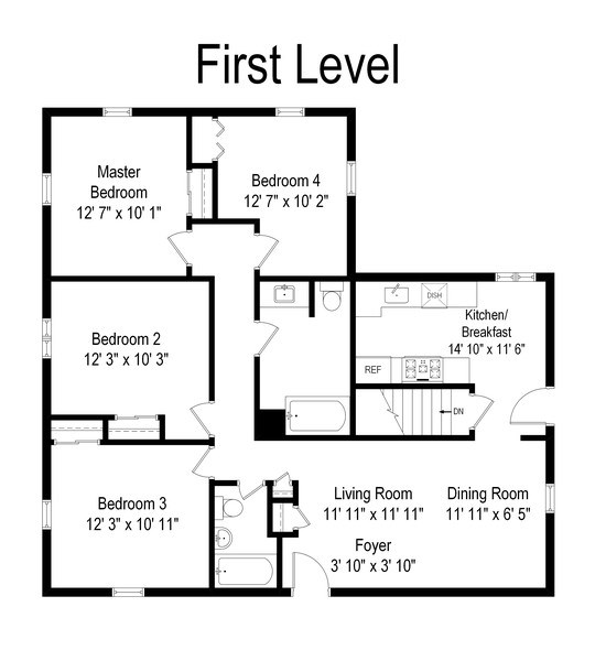 Real Estate Photography - 605 S Mitchell Ave, Arlington Heights, IL, 60005 - Floor Plan
