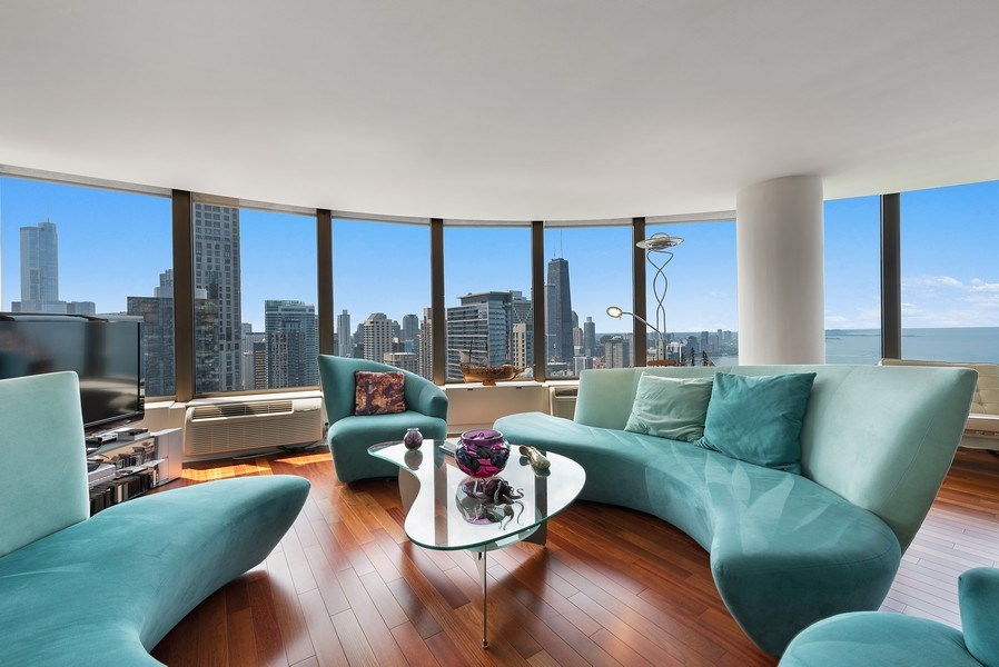 Real Estate Photography - 505 N. Lake Shore Drive, Unit 4802, Chicago, IL, 60611 - Living Room