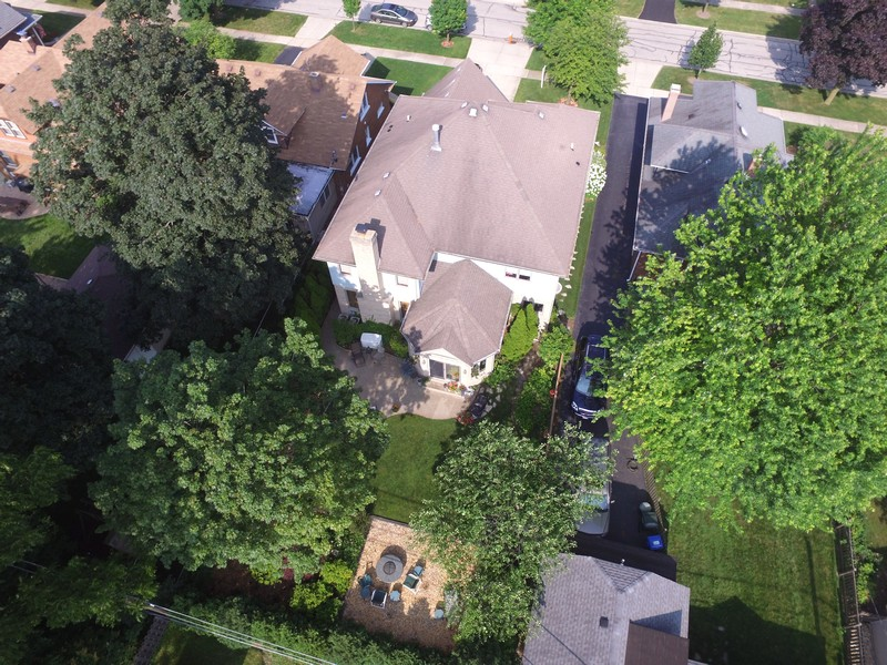 Real Estate Photography - 18 S Louis St, Mount Prospect, IL, 60056 - Aerial showing Back of Home