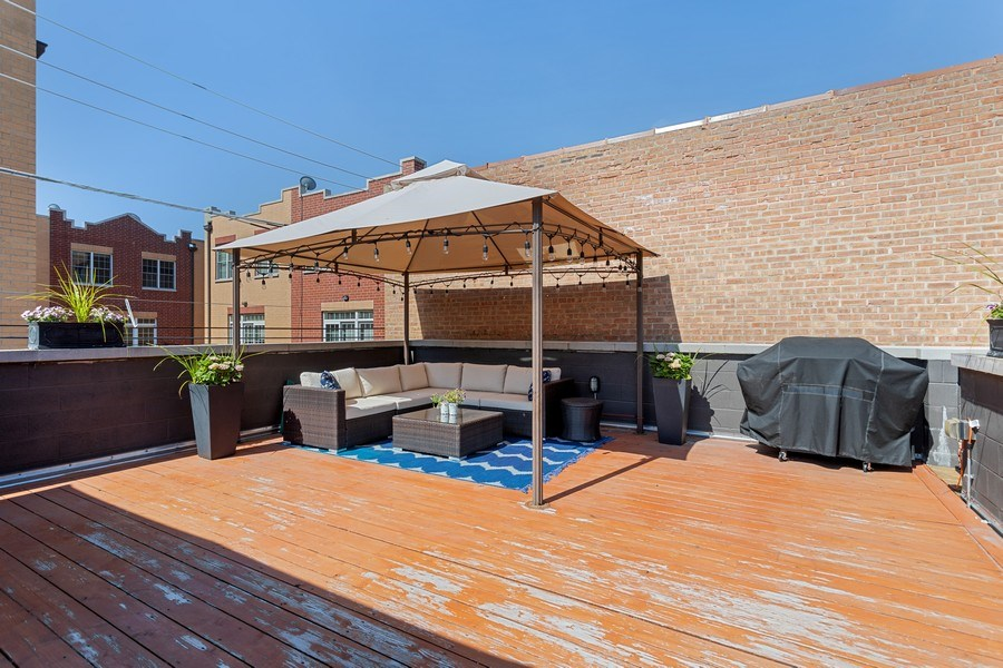 Real Estate Photography - 2441 W Belmont, #3W, Chicago, IL, 60618 - Garage-top Deck