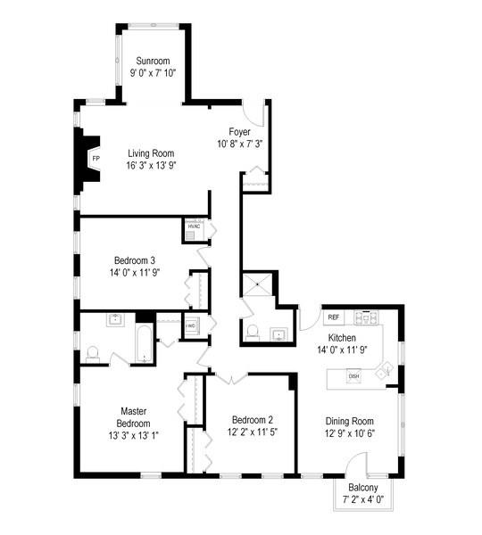 Real Estate Photography - 811 Hinman, 2E, Evanston, IL, 60202 - Floor Plan